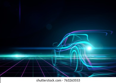 Creative glowing digital car on black background. Transport and design concept. 3D Rendering
