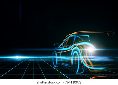 Creative glowing digital car on black background. Transportation and design concept. 3D Rendering