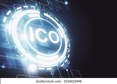 Creative glowing ICO background. Cryptocurrency concept. 3D Rendering