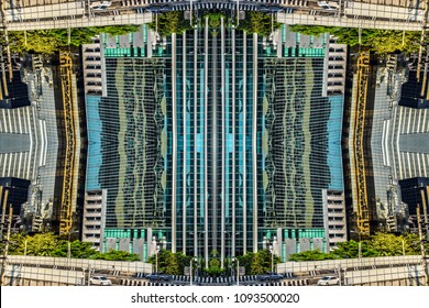 Creative graphic, abstrack city view. Science-Fiction like surreal modern city background.