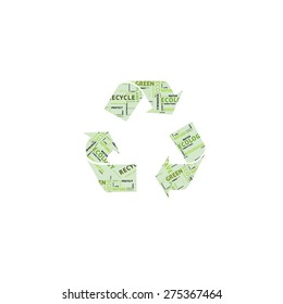 Creative green color recycle symbol, isolated on white background.