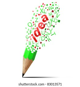 creative green pencil with red idea isolate on white