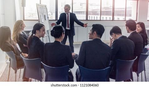 Creative group of business people brainstorming senior leadership workshop  Business coach concept