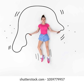 creative hand drawn collage with jumping with rope