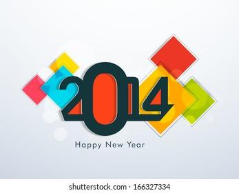Creative Happy New Year 2014 celebration background.