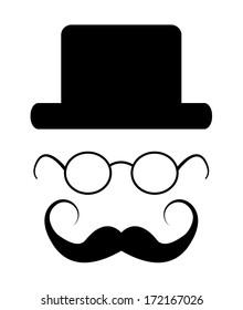 Creative hipster elements isolated on white, raster version. Hipster concept with hat, glasses and mustache.