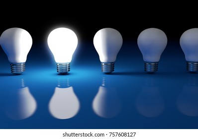 Creative idea and business solution concept with a bright light bulb in a row 3D illustration.