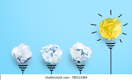 creative idea. Concept of idea and innovation with paper ball