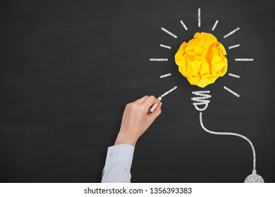 Creative Idea Concepts Light Bulb with Crumpled Paper