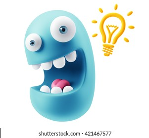 Creative Idea Emoticon Character Face Expression. 3d Rendering.