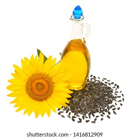 Creative idea flower of a sunflower, seeds and oil glass bottle isolated on white background. Food, cooking, farm work. Agriculture, organic. Flat lay, top view