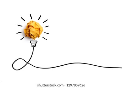 Creative idea, Inspiration, New idea and Innovation concept with Crumpled Paper light bulb on white background.