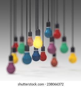 creative idea and leadership concept 3d colors light bulb