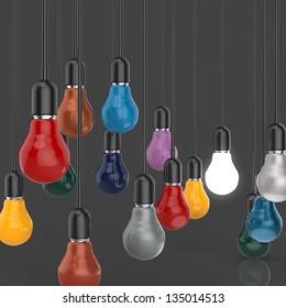 creative idea and leadership concept light bulb 3d design as concept