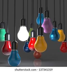 creative idea and leadership concept light bulb as leadership concept