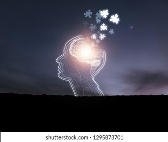 creative idea.Concept of idea and innovation . Creative idea for memory loss, dementia, Alzheimer's disease and mental health concept.Strengthen the brain the worn part