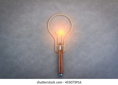 Creative ideas icon with a pencil and a lightbulb as a symbol of creativity and innovation and a spark of talented