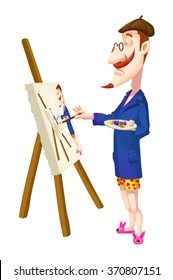 Creative Illustration and Innovative Art: The Classic Artist is Reproducing himself in the Portrait! Realistic Fantastic Cartoon Style Artwork Scene, Wallpaper, Story Background, Card Design