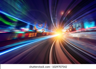 Creative image of moving train in city