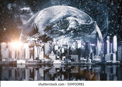 Creative image of nighttime cityscape in space.