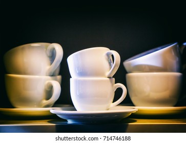 Creative image  set of images of plates and white cups