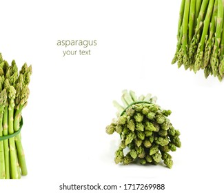 creative layout. bunch of fresh asparagus isolated on white background. space for your text.