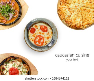 creative layout. Caucasian cuisine: khachapuri, roast with beef and mushrooms, baked potatoes with young cheese, omelet, tomatoes and cheese. isolated on a white background. space for your
