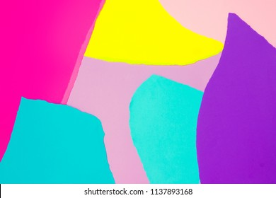 Creative layout with colorful vivid papers. Abstract colors art background. Minimal concept. Flat lay.