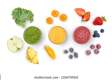 Creative layout of fresh smoothies