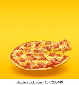 Creative layout of hot delicious pizza in flying on summer orange background. Pizza pepperoni design mockup flyer or poster for promotions and discounts with copy space. Fast Food concept.