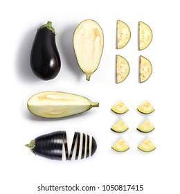 Creative layout made of aubergine or eggplant. Flat lay. Food concept.