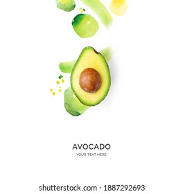 Creative layout made of avocado on the watercolor background. Flat lay. Food concept. - Shutterstock ID 1887292693