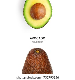 Creative layout made of avocado on the white background. Flat lay. Food concept. Macro  concept.