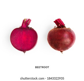 Creative layout made of beetroot on the white background. Flat lay. Food concept. Macro concept.