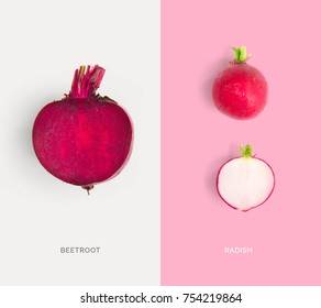 Creative layout made of beetroot and radish. Flat lay. Food concept.