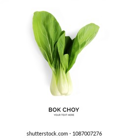 Creative layout made of bok choy. Flat lay. Food concept.