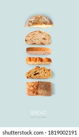 Creative layout made of bread on the blue background. Flat lay. Food concept. - Shutterstock ID 1819002191