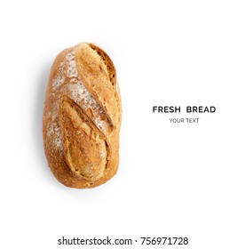 Creative layout made of bread on the white background. Flat lay. Food concept. - Shutterstock ID 756971728