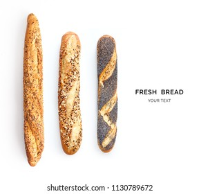 Creative layout made of breads baguette. Flat lay. Food concept.