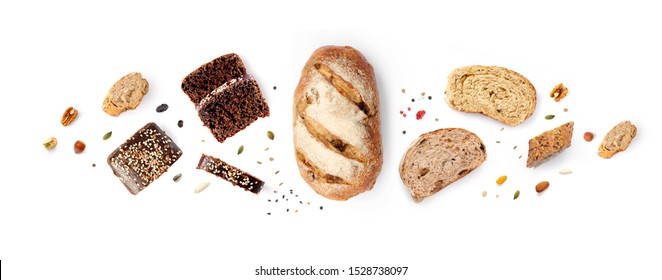 Creative layout made of breads on white background. Flat lay. Food concept. - Shutterstock ID 1528738097