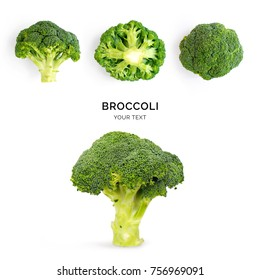 Creative layout made of broccoli on the white background. Flat lay. Food concept. Macro  concept.