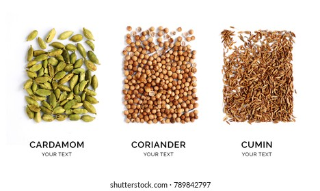 Creative layout made of cardamon, coriander and cumin. Flat lay. Food concept. Cardamon, coriander and cumin on the white background.