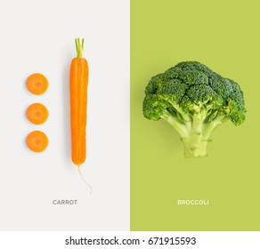 Creative layout made of carrot and broccoli. Flat lay. Food concept.