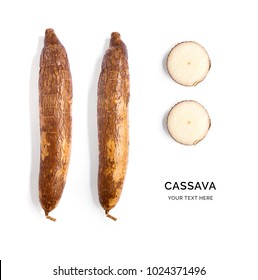 Creative layout made of cassava on the white background.. Flat lay. Food concept.