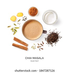 Creative layout made of chai masala on a white background. Top view. Indian drink. Black tea with milk and species.