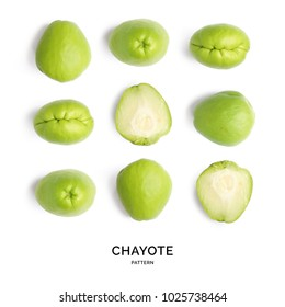 Creative layout made of chayote on the white background.. Flat lay. Food concept.