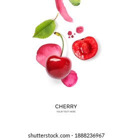Creative layout made of cherry on the watercolor background. Flat lay. Food concept. - Shutterstock ID 1888236967