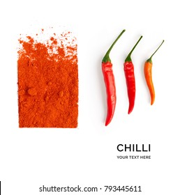 Creative layout made of chilli papper. Flat lay. Food concept. Macro  concept.