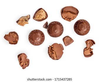 Creative layout made of Chocolate praline candies  isolated on white background. Candies collection. Top view. Flat lay