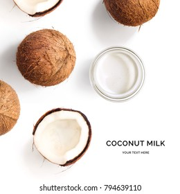 Creative layout made of coconut and coconut milk on white background. Flat lay. Food concept. Macro  concept.